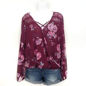 Tops - Floral sheer long sleeve wrap top NWT